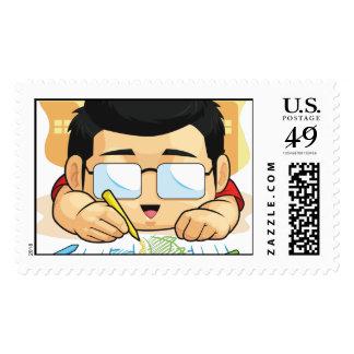 Cartoon of Boy Loves Drawing & Doodling Stamp