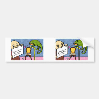 Cartoon of chameleon stamping a letter bumper sticker