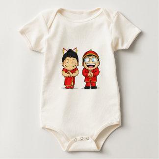 Cartoon of Chinese Boy & Girl Baby Bodysuit