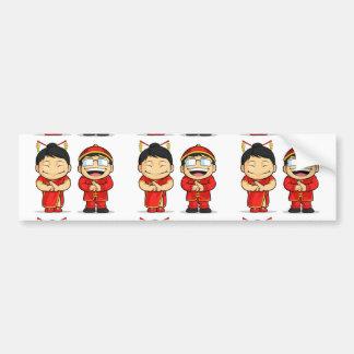 Cartoon of Chinese Boy & Girl Bumper Sticker