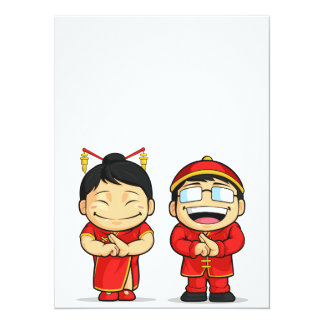 Cartoon of Chinese Boy & Girl Card