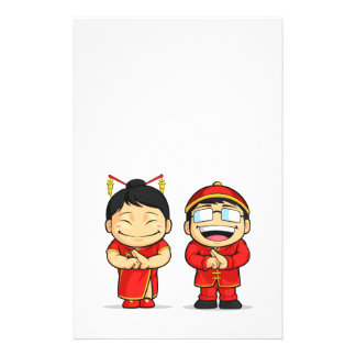 Cartoon of Chinese Boy Girl Personalized Flyer