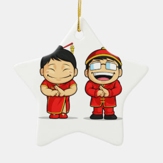 Cartoon of Chinese Boy & Girl Double-Sided Star Ceramic Christmas Ornament