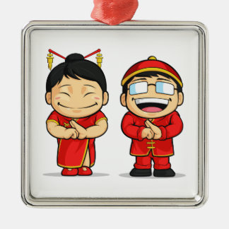 Cartoon of Chinese Boy & Girl Square Metal Christmas Ornament