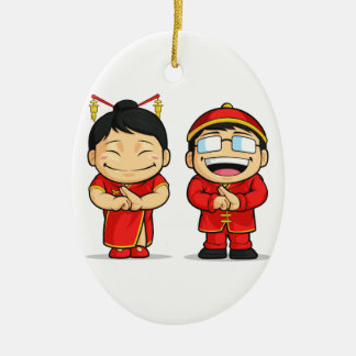 Cartoon of Chinese Boy & Girl Double-Sided Oval Ceramic Christmas Ornament