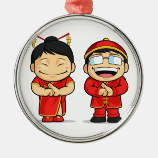 Cartoon of Chinese Boy & Girl Round Metal Christmas Ornament