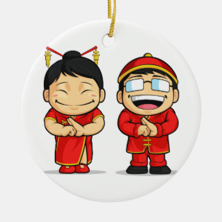 Cartoon of Chinese Boy & Girl Double-Sided Ceramic Round Christmas Ornament