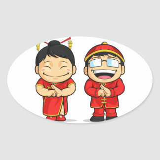Cartoon of Chinese Boy & Girl Oval Sticker
