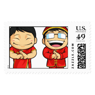 Cartoon of Chinese Boy & Girl Stamps