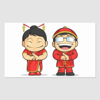 Cartoon of Chinese Boy & Girl Rectangular Sticker