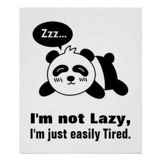 Cartoon of Cute and Lazy Panda Poster