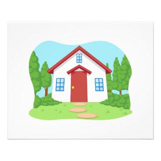 """Cartoon of Cute Little House with Garden 4.5"""" X 5.6"""" Flyer"""