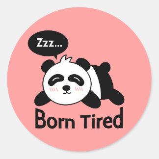 Cartoon of Cute Sleeping Panda Classic Round Sticker