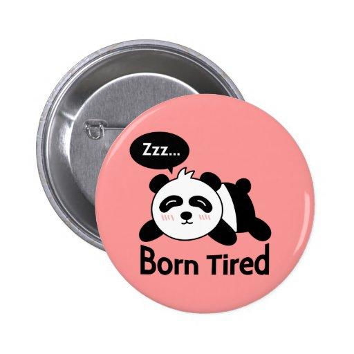 Cartoon of Cute Sleeping Panda Pinback Button