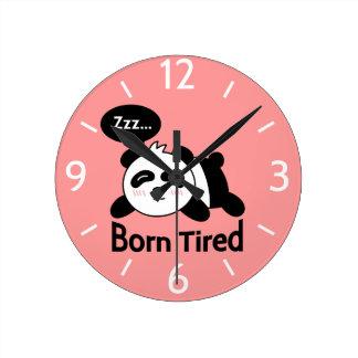 Cartoon of Cute Sleeping Panda Round Clock