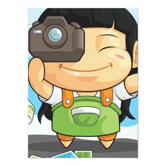 Cartoon of Girl Loves Photography Card