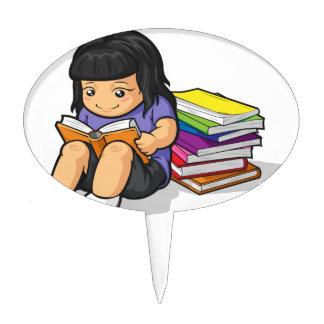 Cartoon of Girl Student Reading Book Cake Topper