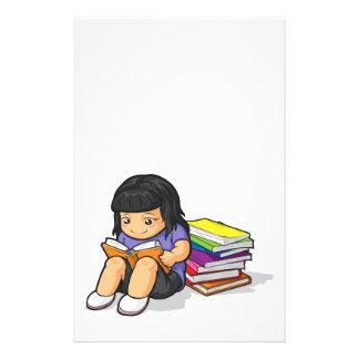 Cartoon of Girl Student Reading Book Flyer