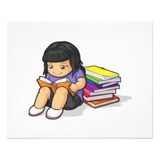 Cartoon of Girl Student Reading Book Flyer Design