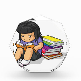 Cartoon of Girl Student Studying & Reading Book Acrylic Award