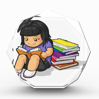 Cartoon of Girl Student Studying & Reading Book Award