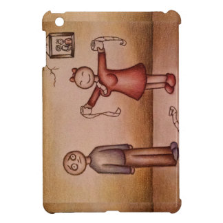 Cartoon of Girl Stuffing Shirt with Toilet Paper iPad Mini Cases