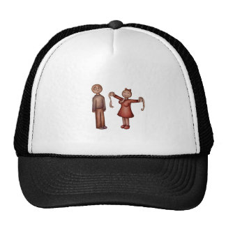 Cartoon of Girl Stuffing Shirt with Toilet Paper Trucker Hat