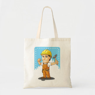 Cartoon of Industrial Construction Worker Canvas Bags