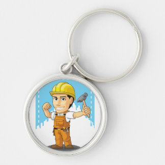 Cartoon of Industrial Construction Worker Keychains
