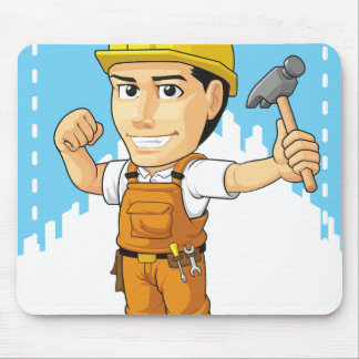 Cartoon of Industrial Construction Worker Mouse Pad