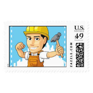 Cartoon of Industrial Construction Worker Postage Stamps