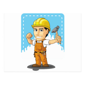 Cartoon of Industrial Construction Worker Postcards