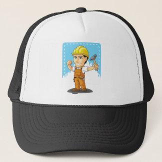 Cartoon of Industrial Construction Worker Trucker Hat