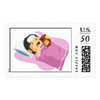 Cartoon of Little Girl Having A Fever Postage