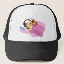 Cartoon of Little Girl Having A Fever Trucker Hat