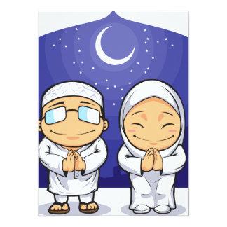 Cartoon of Muslim Man Woman Greeting Ramadan Card