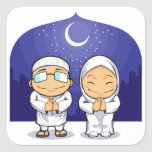Cartoon of Muslim Man Woman Greeting Ramadan Square Sticker