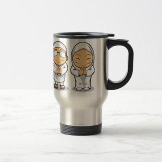 Cartoon of Muslim Man & Woman Travel Mug