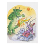 Cartoon of mythological fire breathing dragon postcard