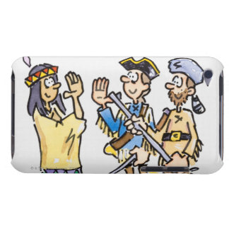 Cartoon of Native American greeting two men Barely There iPod Cover