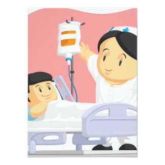Cartoon of Nurse Helping Child Patient Card