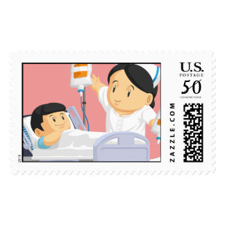 Cartoon of Nurse Helping Child Patient Postage
