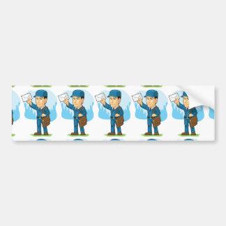 Cartoon of Postman or Mailman Bumper Sticker