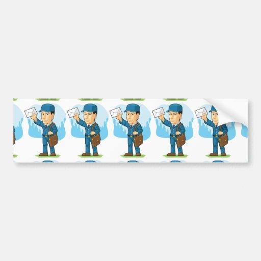 Cartoon of Postman or Mailman Car Bumper Sticker