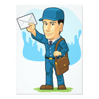 Cartoon of Postman or Mailman Card