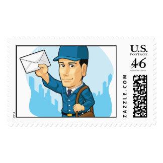 Cartoon of Postman or Mailman Stamp