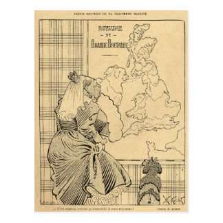 Cartoon of Queen Victoria from Le Rire Postcard