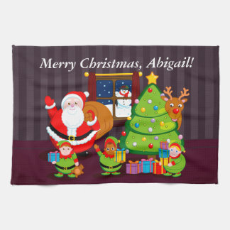 Cartoon of Santa Claus delivering Christmas gifts, Towel