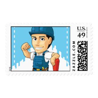 Cartoon of Technician or Repairman Postage