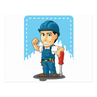 Cartoon of Technician or Repairman Postcard